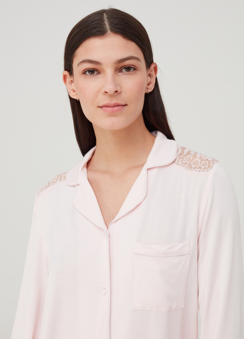 Pyjama top with pocket and lapels image number null