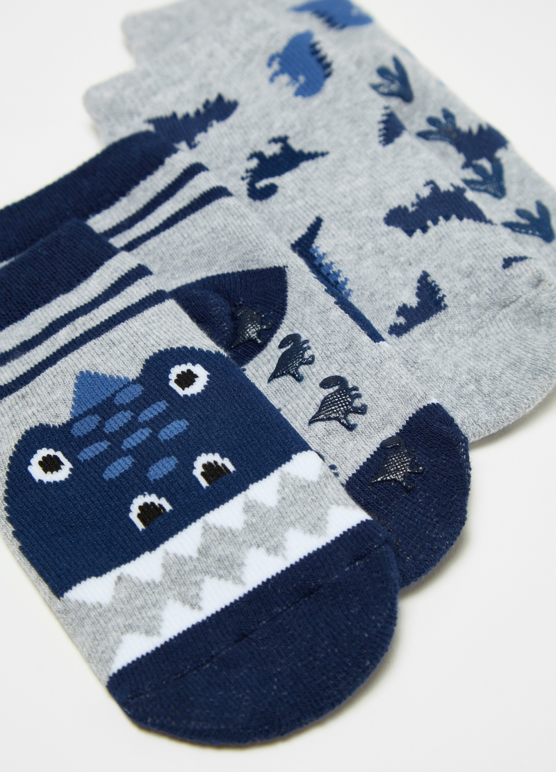 Two-pair pack slipper socks with dinosaurs image number null