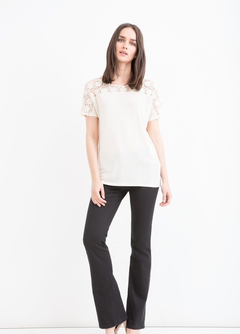 Viscose blend openwork T-shirt image number null