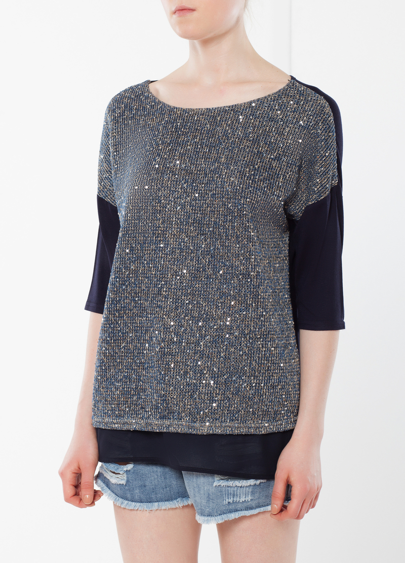 Knitted T-shirt with sequins image number null