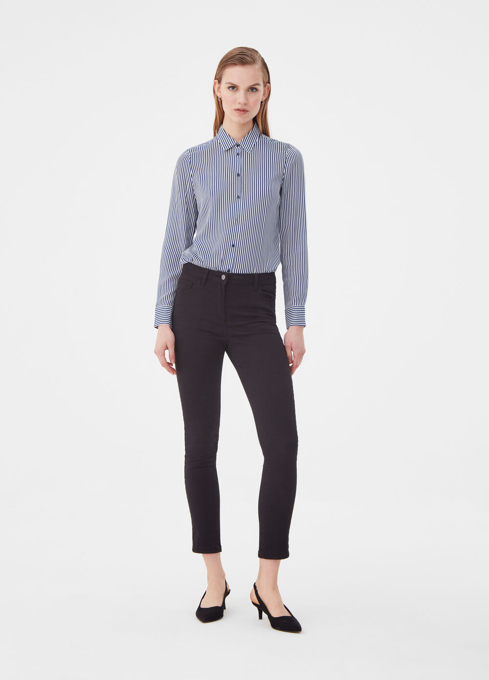Slim-fit trousers in twill with five pockets