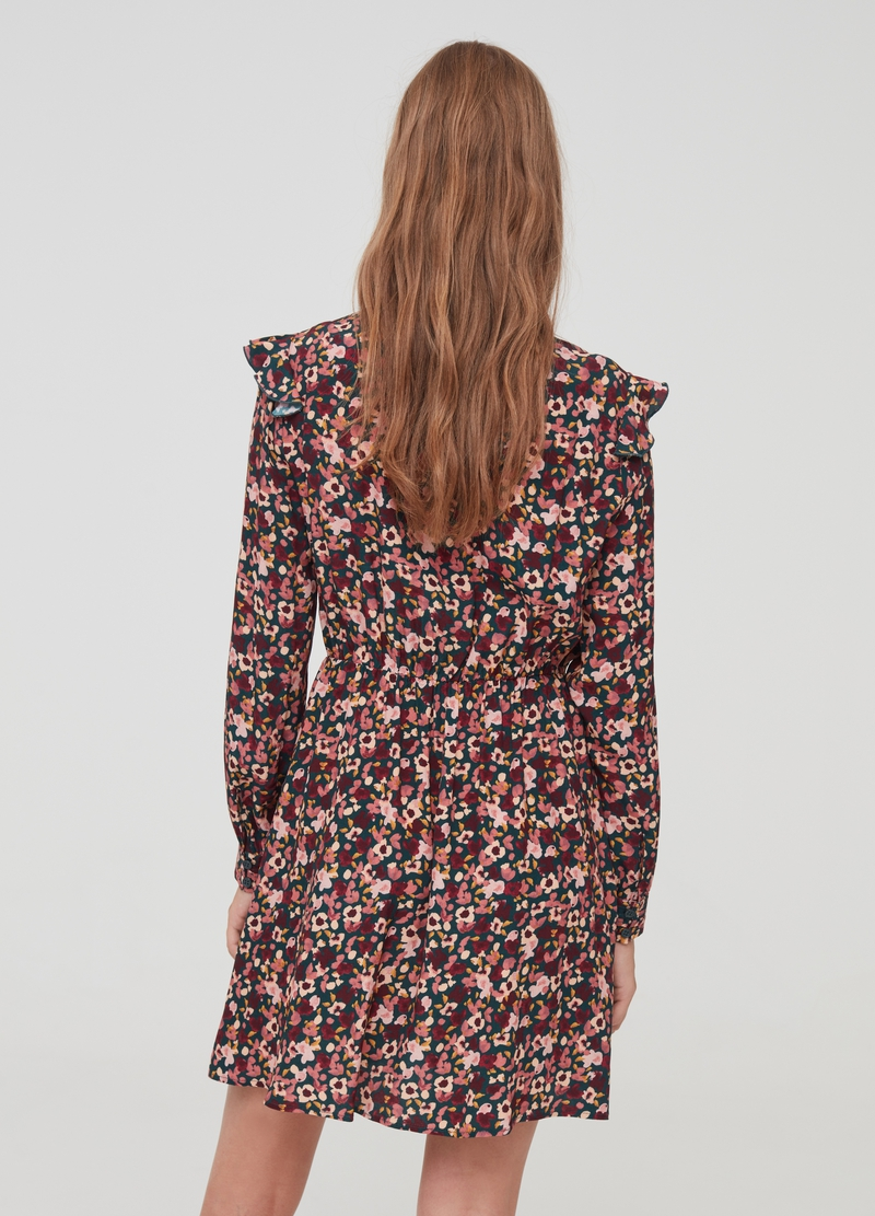 Pleated dress with floral flounce image number null