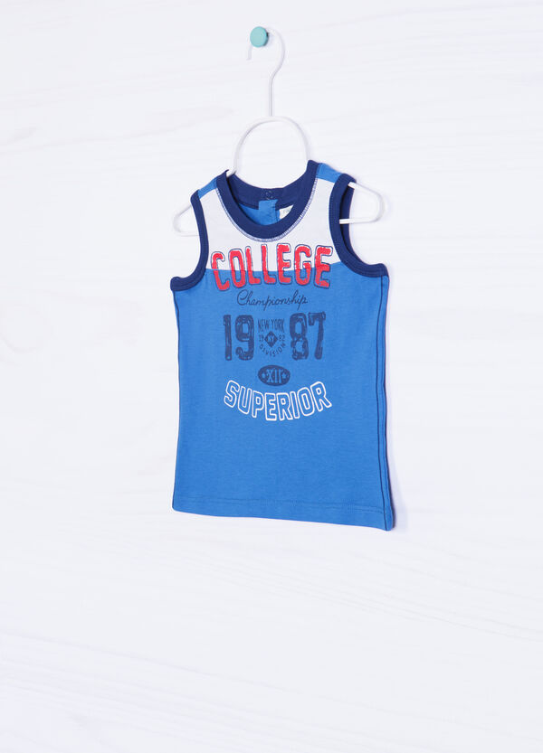 100% cotton vest with lettering | OVS
