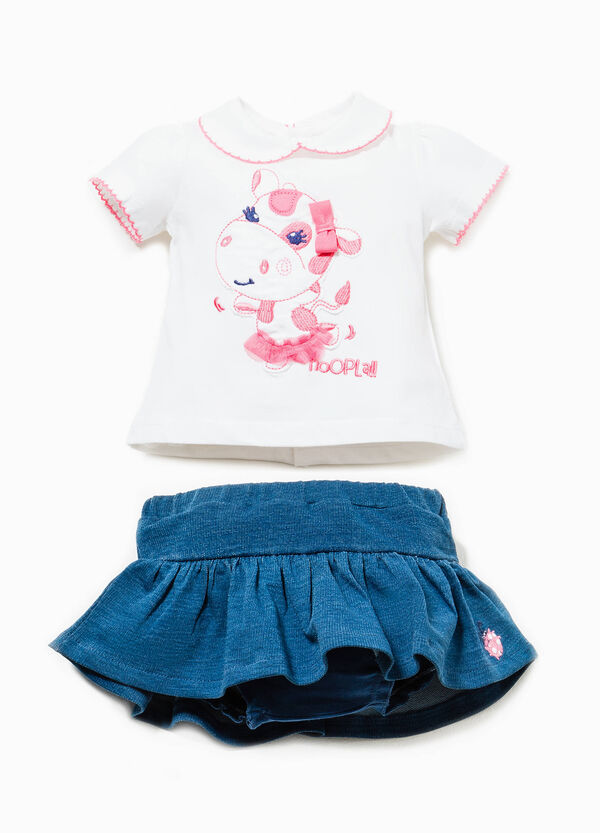 Cotton T-shirt with tulle and embroidery | OVS