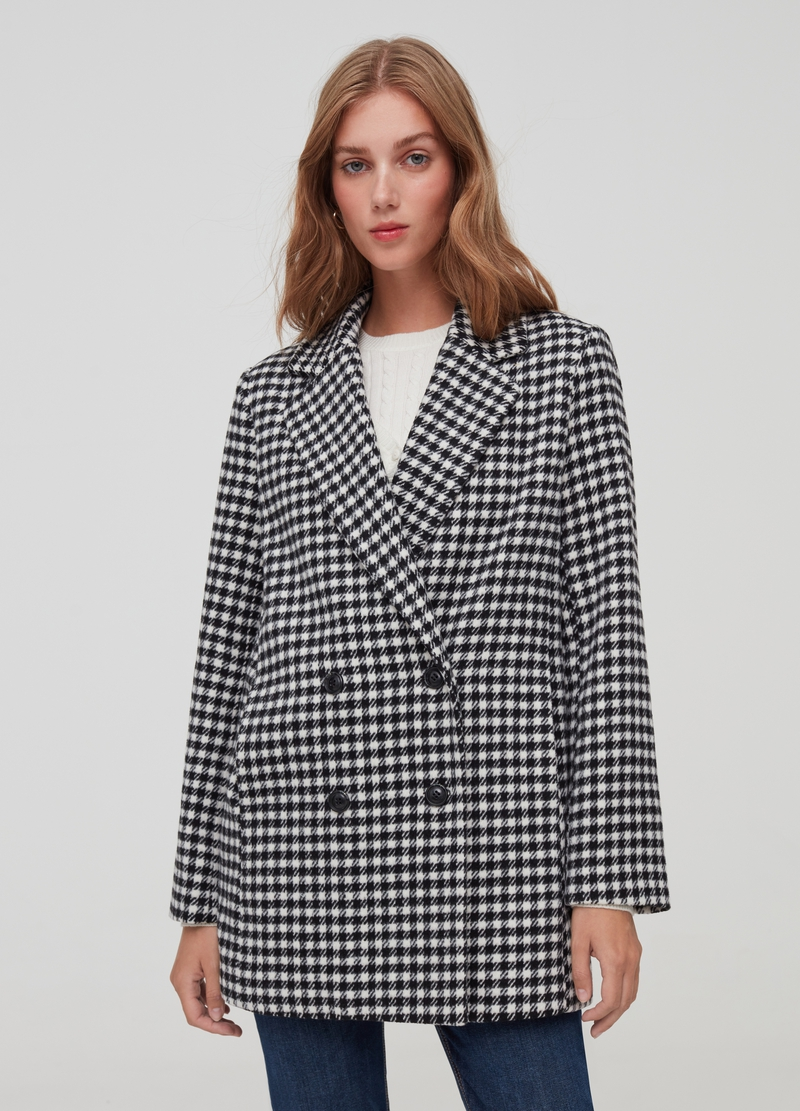 Double-breasted hounds' tooth coat image number null