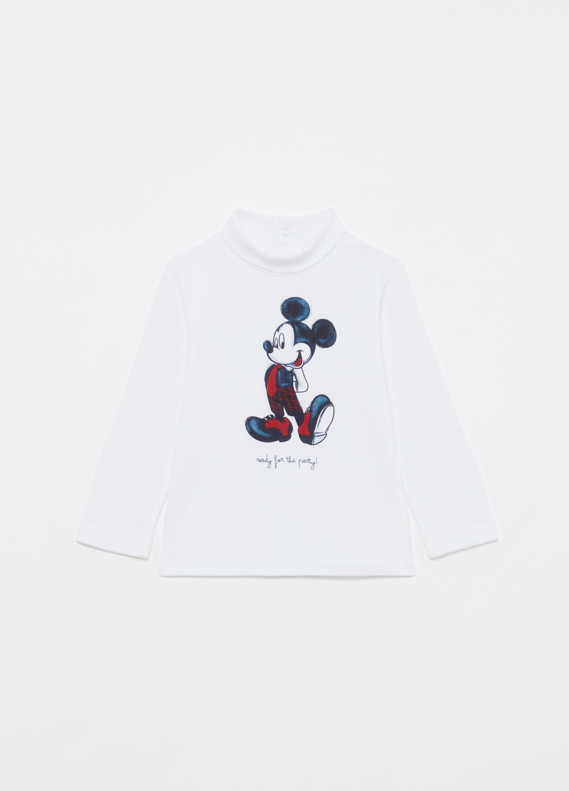 Mickey Mouse T-shirt with high neck in organic cotton image number null