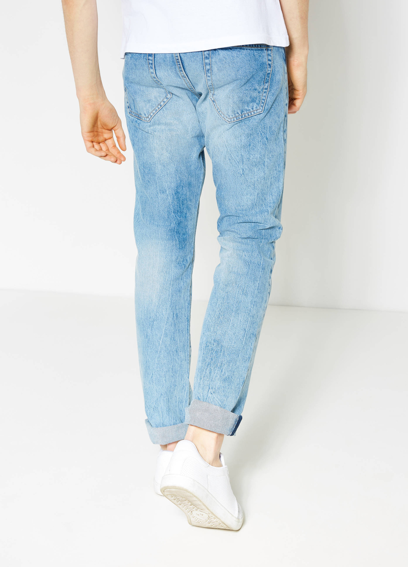 Jeans straight fit effetto used image number null