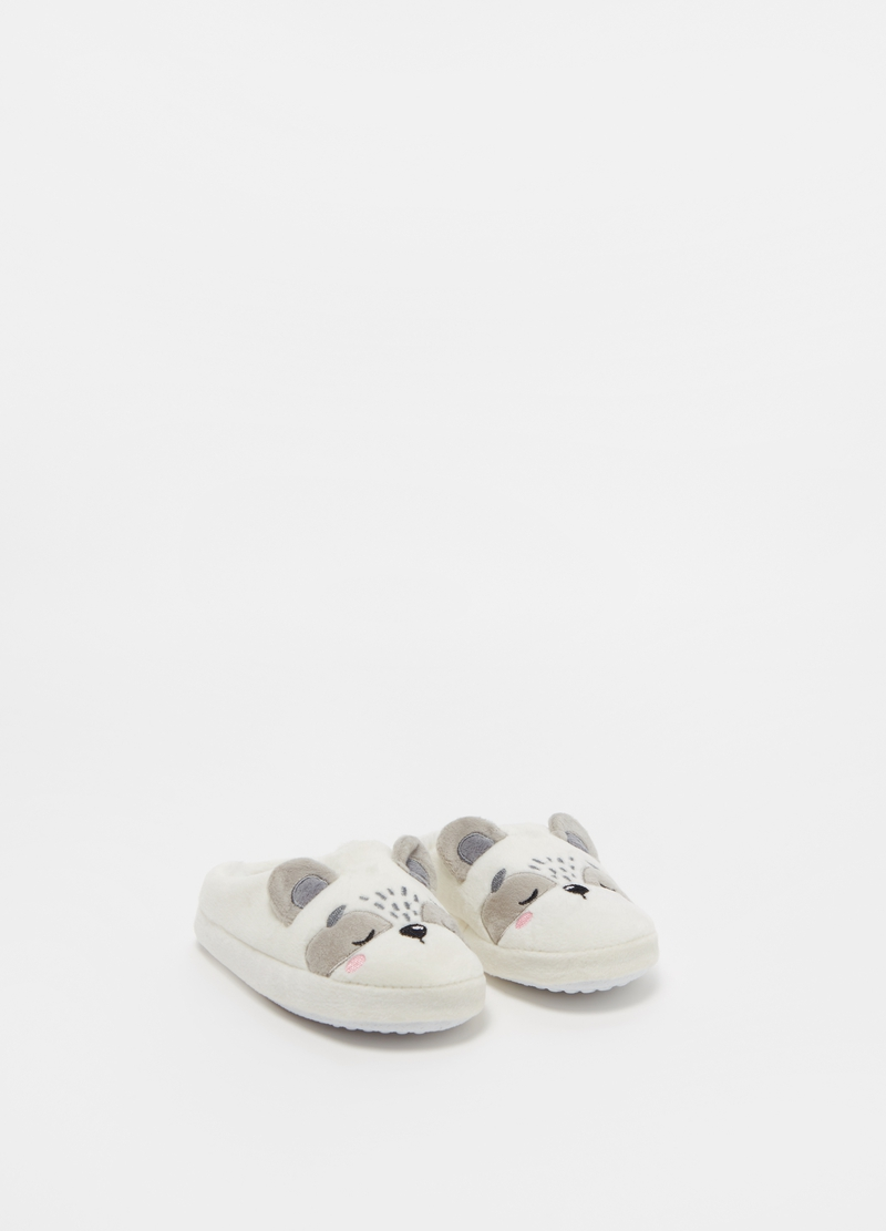 Faux fur teddy bear slippers image number null