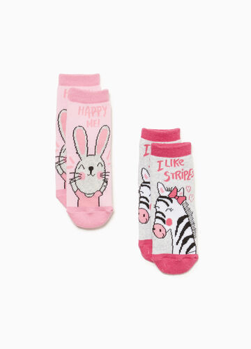 Two-pair pack slipper socks with embroidery