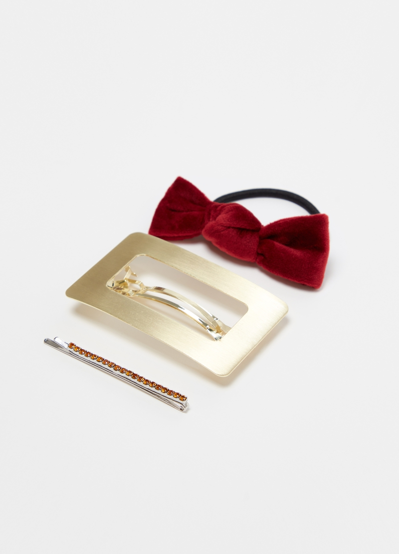 Hairpin, clip and hair elastic set with diamantés image number null