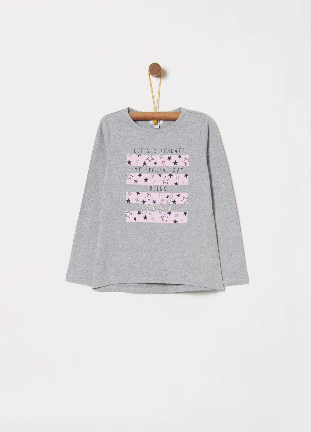 Jersey T-shirt with lettering and glitter stars