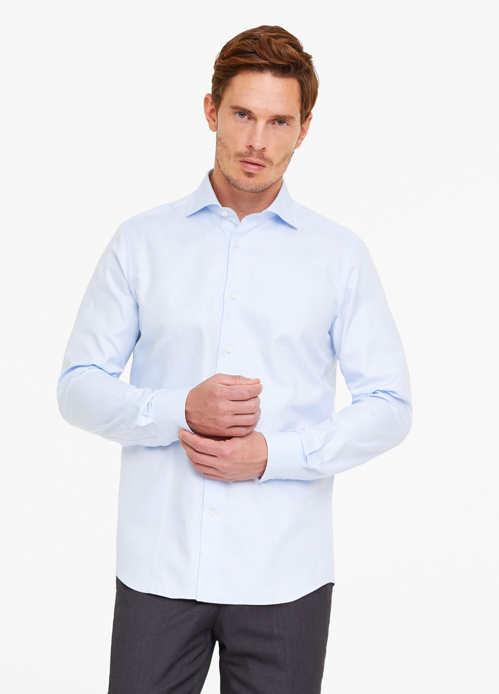 Cotton slim-fit shirt with striped weave