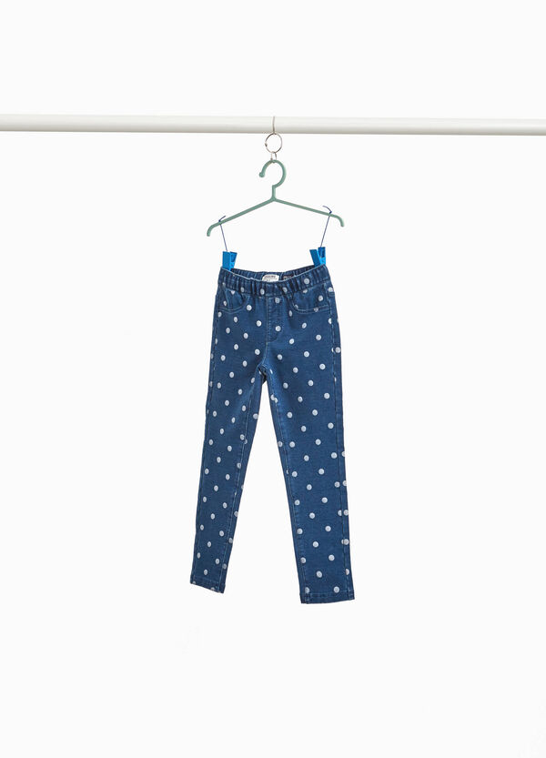 Jeggings stretch fantasia a pois
