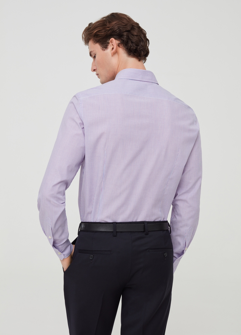 Slim-fit striped shirt with button-down collar image number null