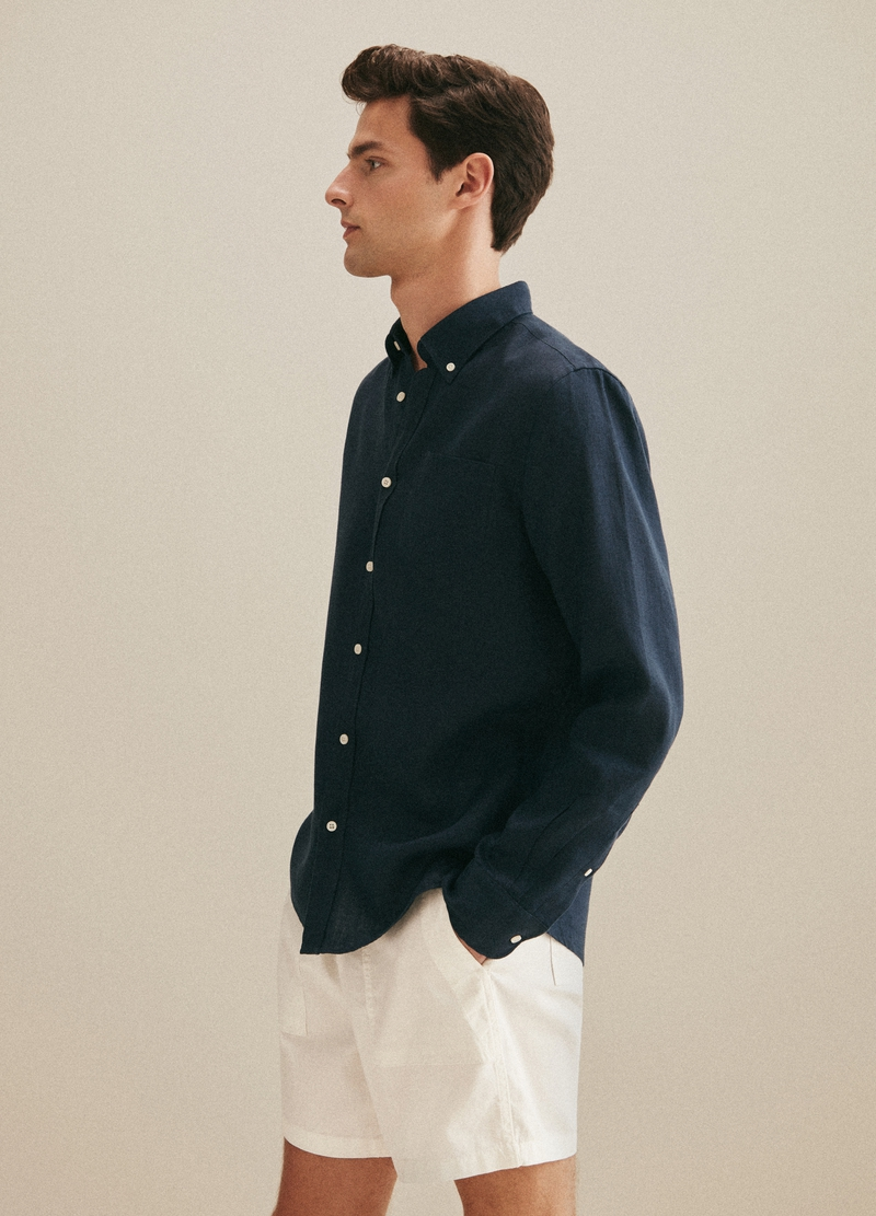 PIOMBO linen shirt with button-down collar image number null