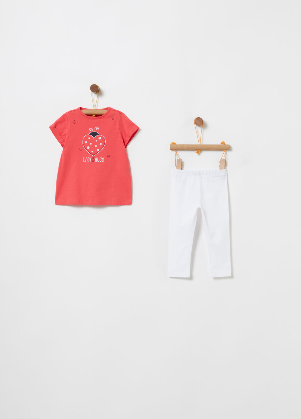 Jogging set t-shirt coccinella e leggings