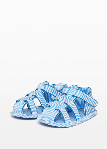 Strap sandals with micro check pattern
