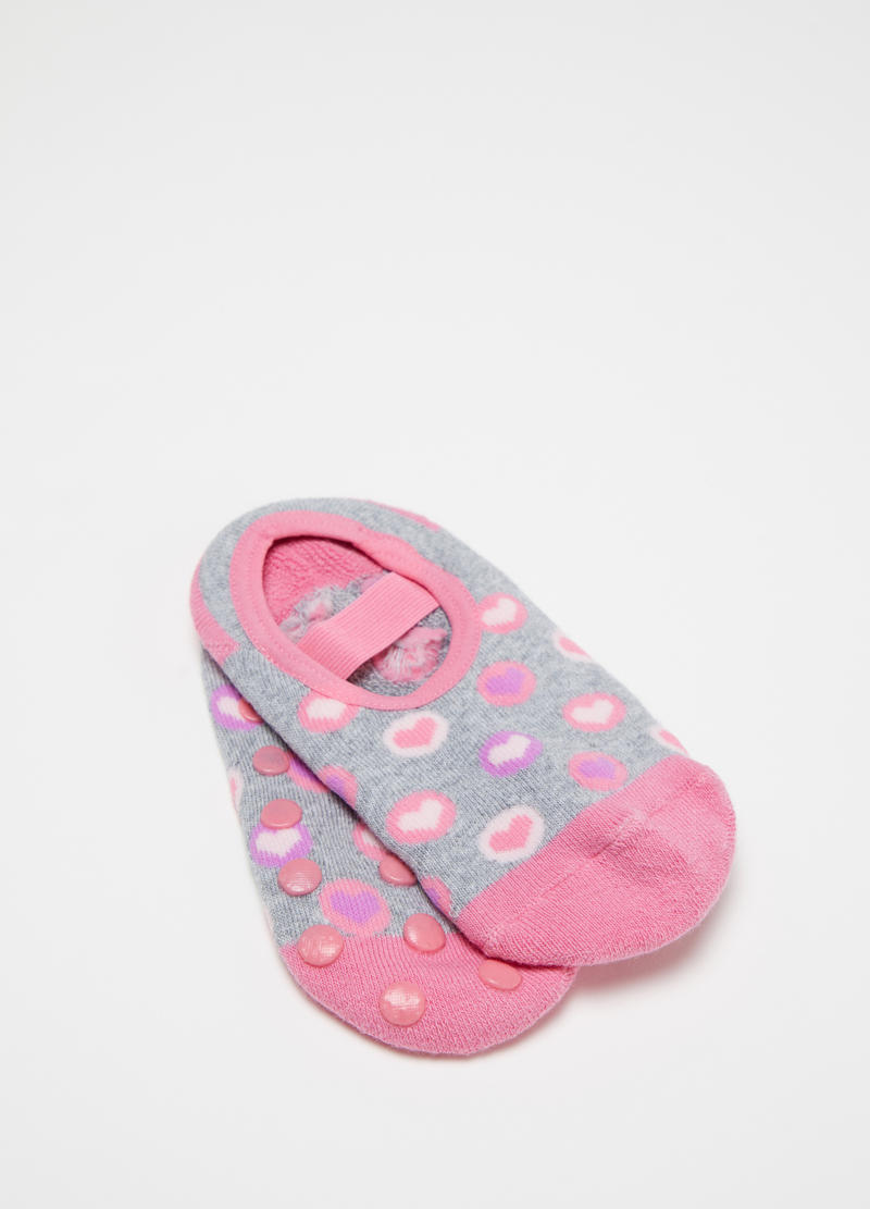 Stretch slipper socks with heart pattern image number null
