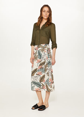 Belted skirt with all-over print