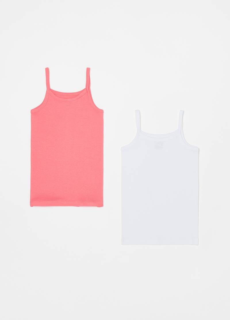 Two-pack vest tops in 100% cotton image number null