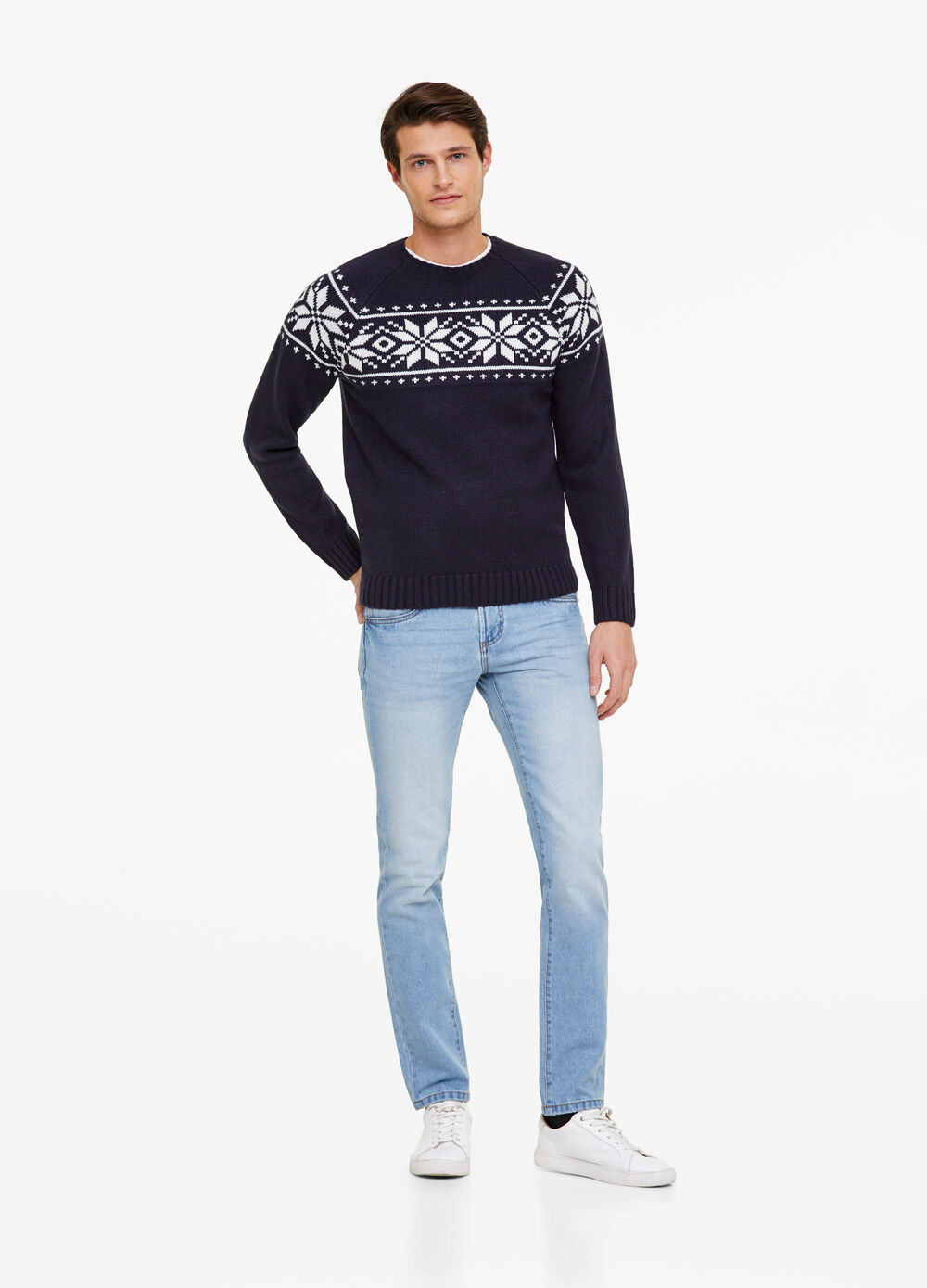Christmas sweater with patterned insert