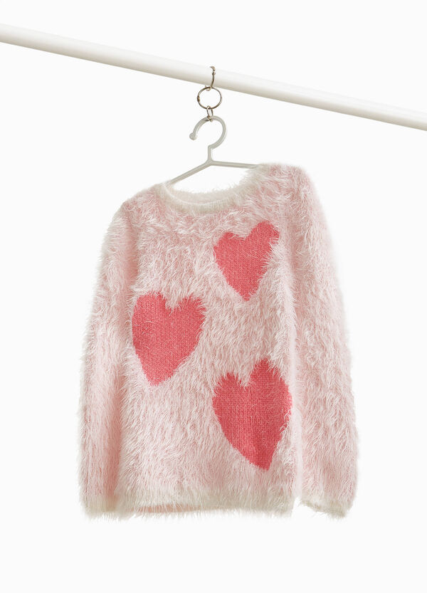 Pullover in faux fur with hearts print