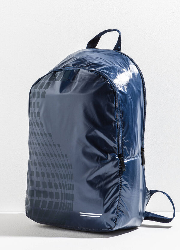 Shiny backpack with print