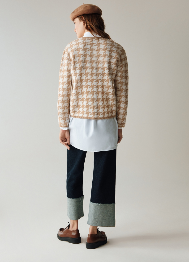 PIOMBO Cardigan corto in pied de poule image number null