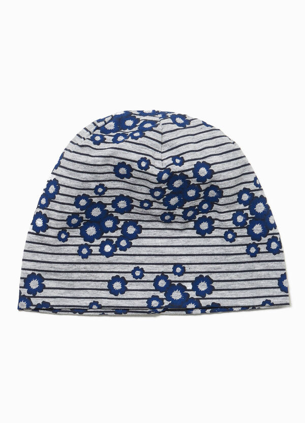 Stripes and flowers beanie cap with