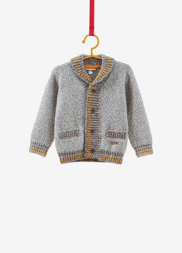 Cotton blend cardigan with pockets and buttons