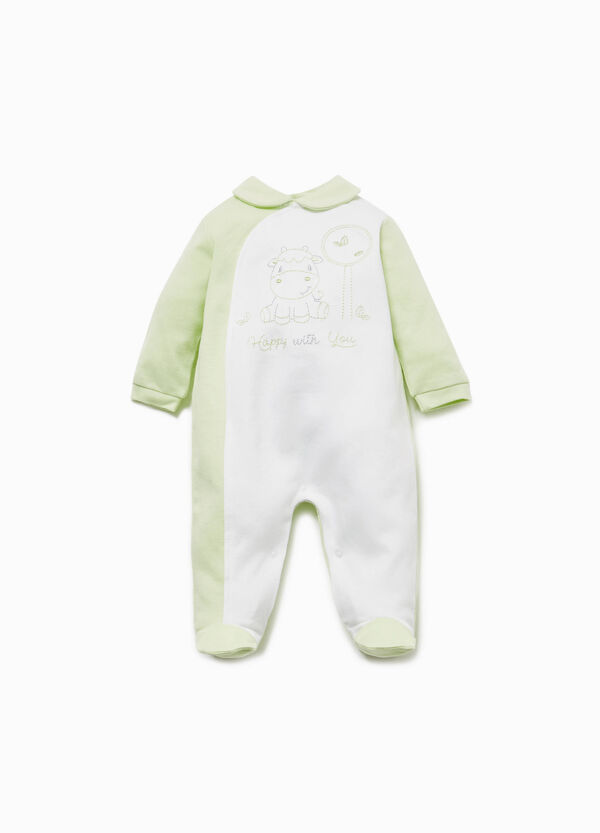Two-tone onesie with cow embroidery