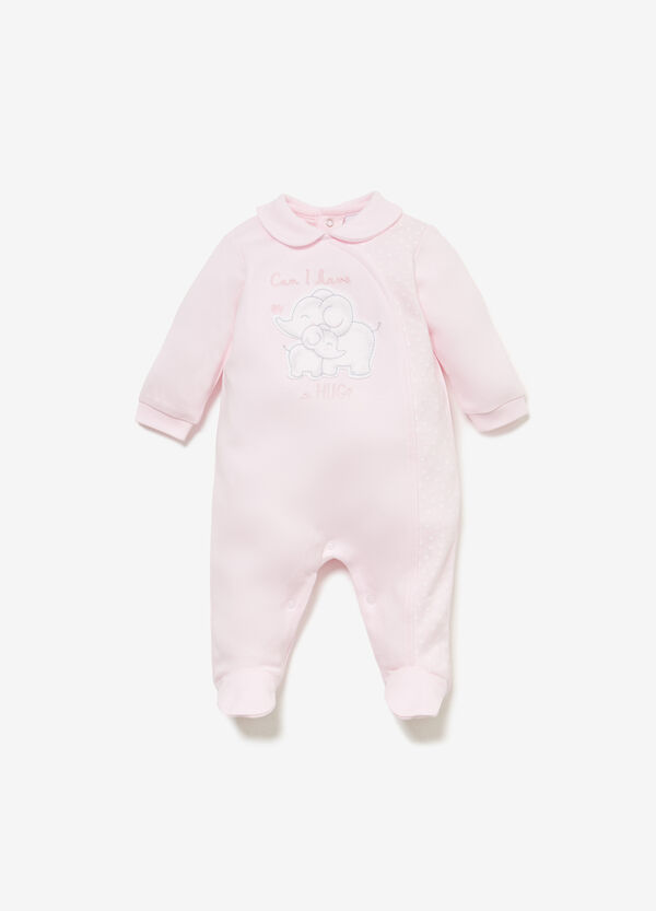100% cotton onesie with polka dots and patches
