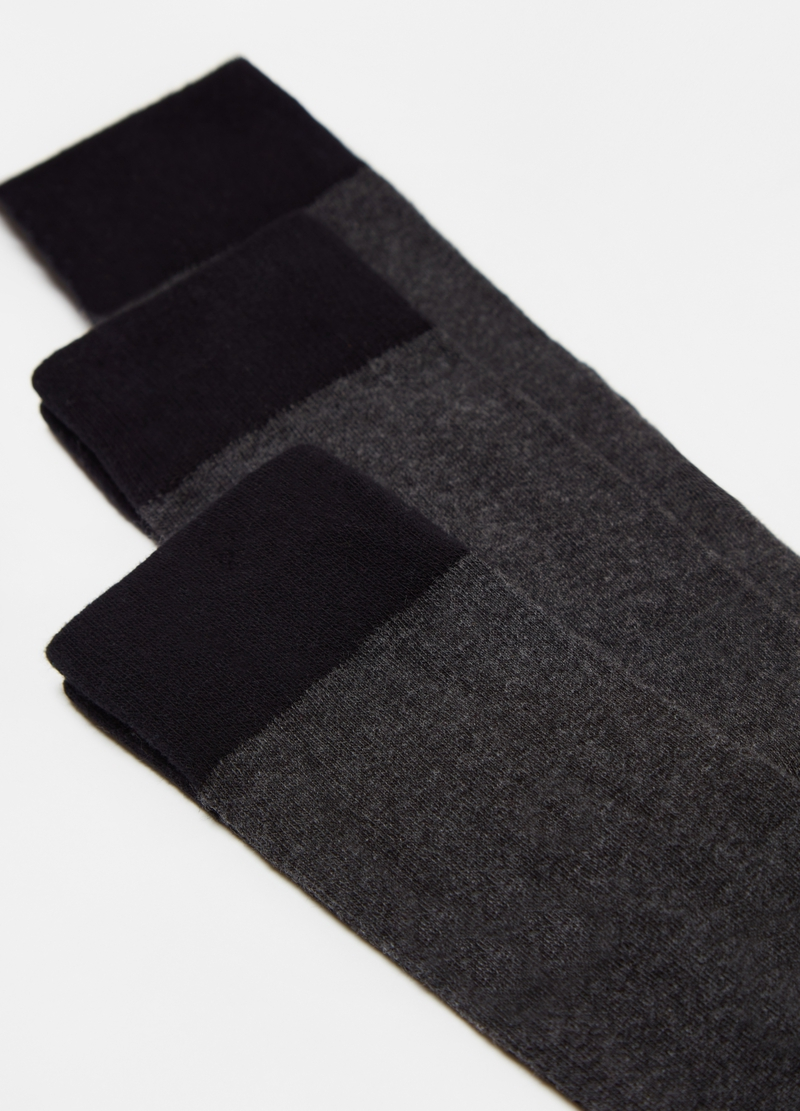 Three-pair pack long socks with contrasting heel image number null