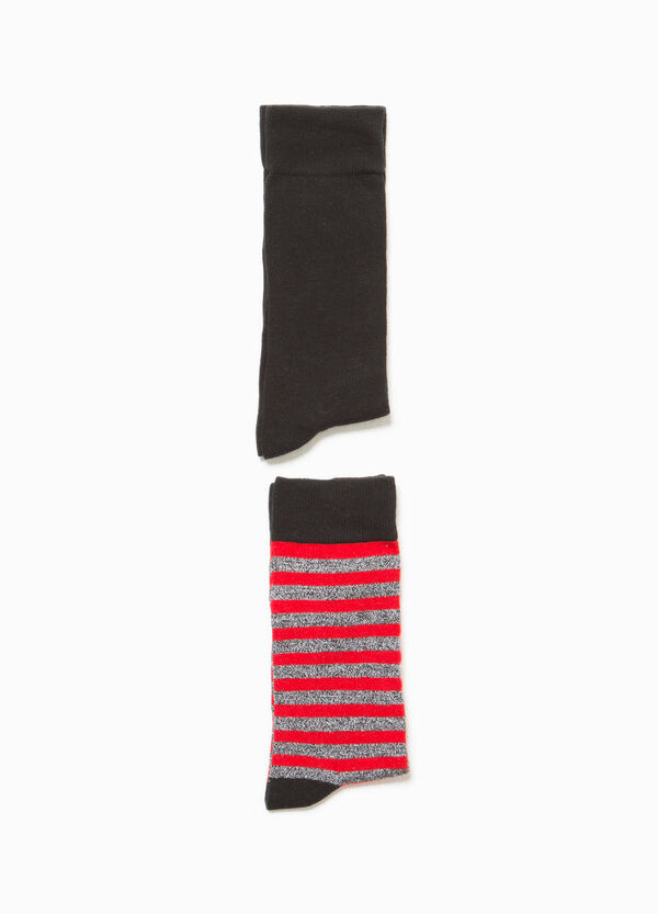 Two-pair pack short socks in stretch cotton