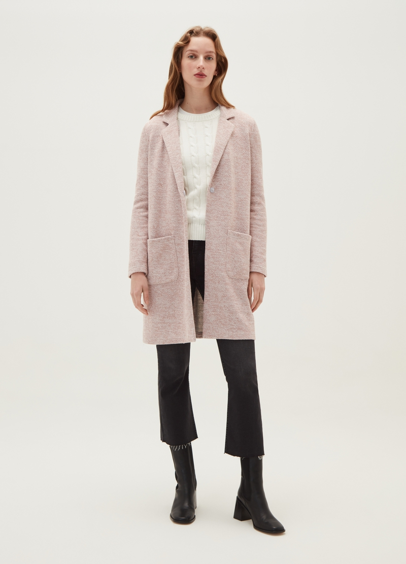 Coat with lapels and geometric weave image number null