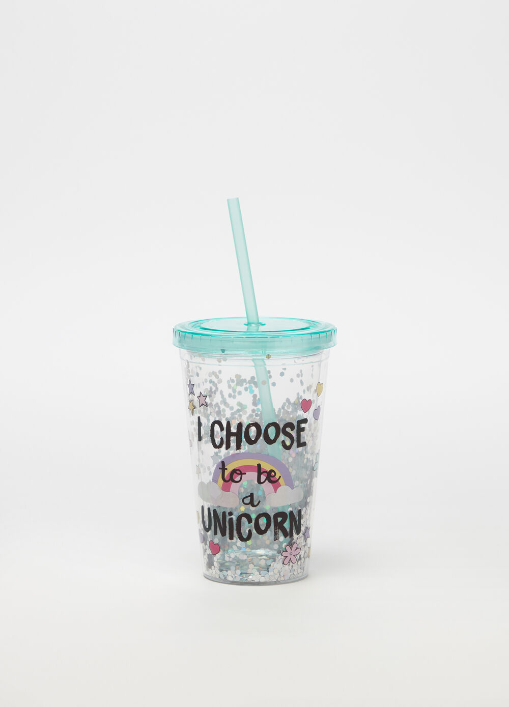 Rainbow cup with straw
