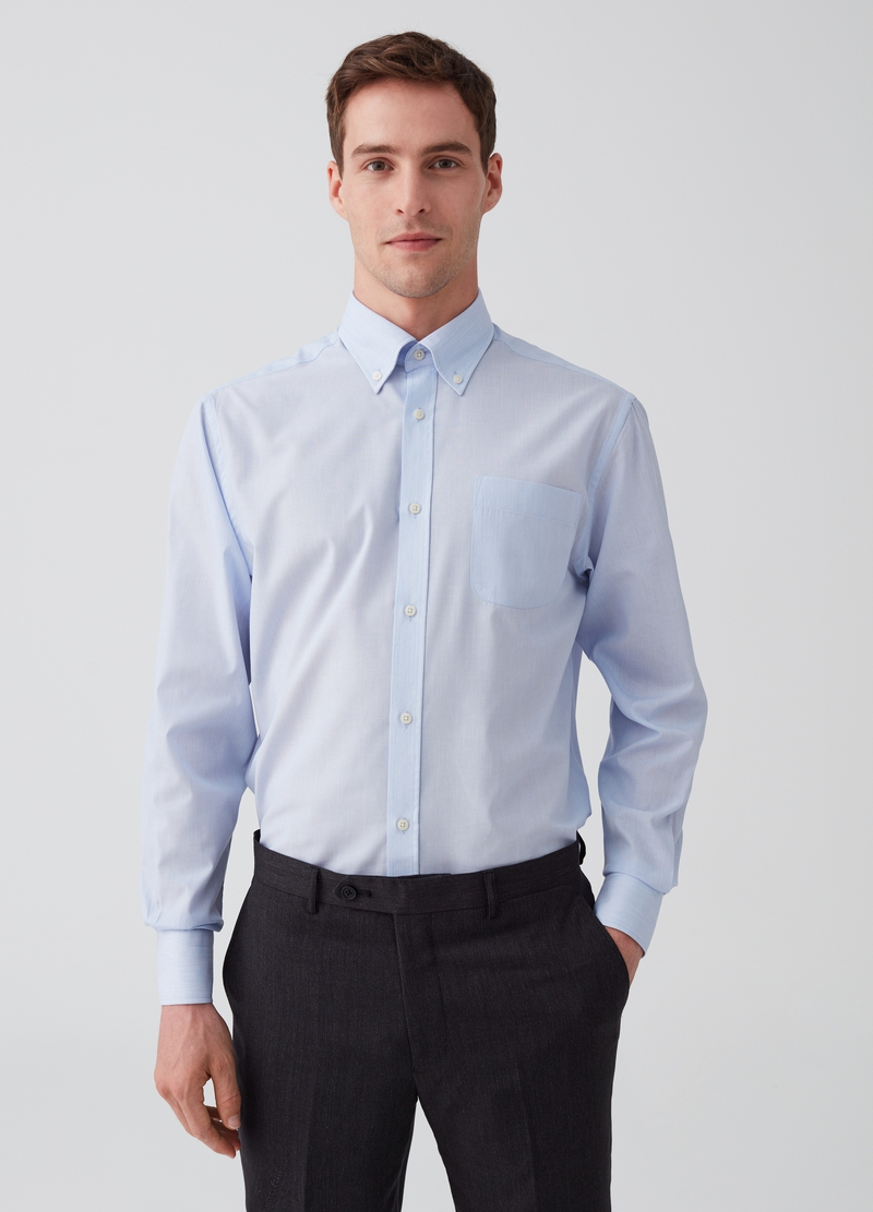 Camicia regular fit button-down righe image number null