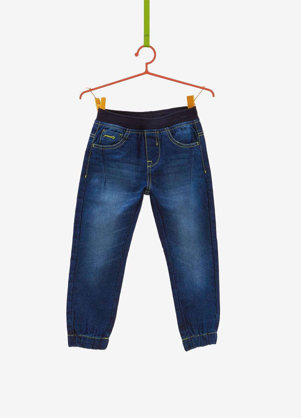 Worn-effect jogger-fit jeans