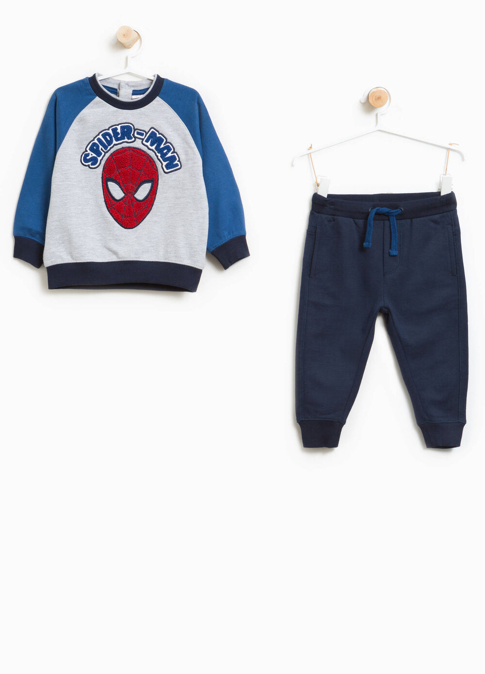 Tracksuit in 100% cotton with Spiderman patch