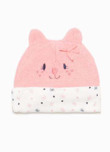 Beanie cap with ears and embroidery