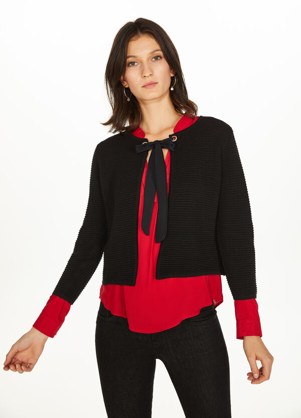 Crop cardigan with striped weave