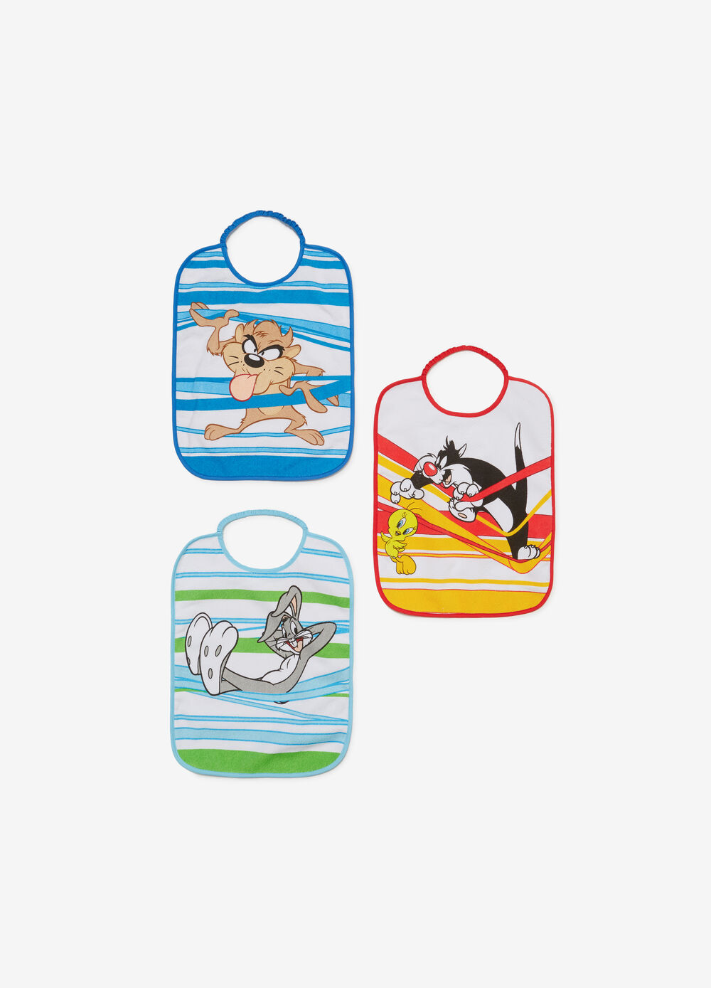 Three-pack bibs with Looney Tunes print