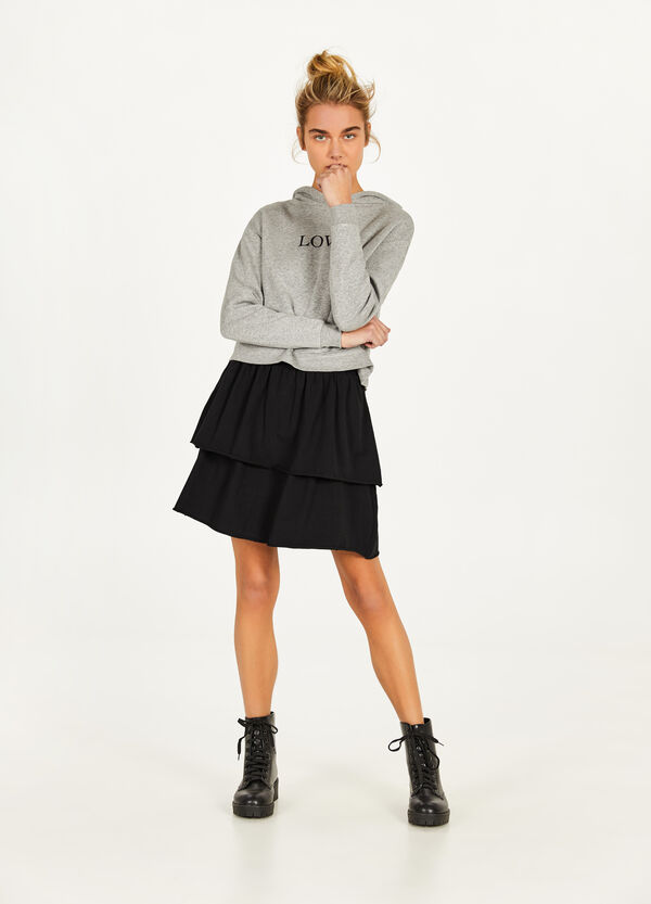 Stretch cotton flounced skirt