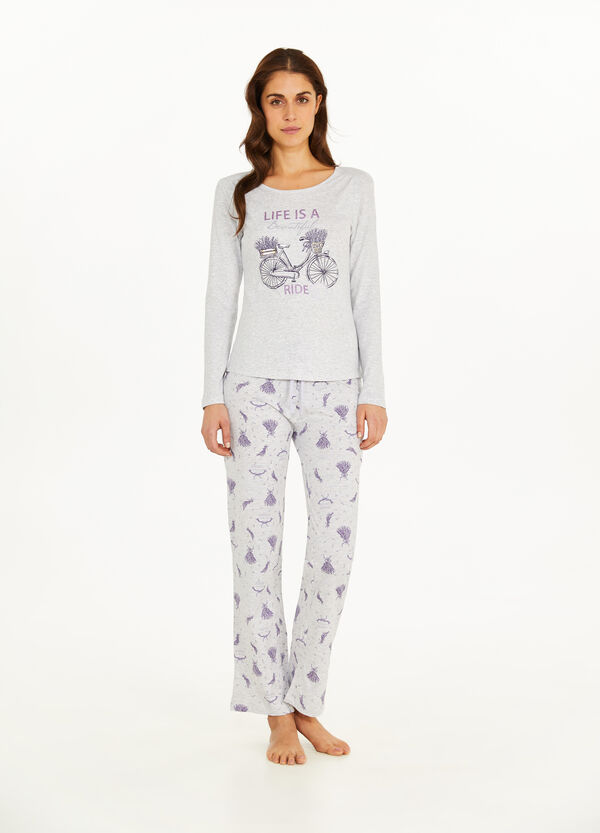 Cotton and viscose floral pyjamas
