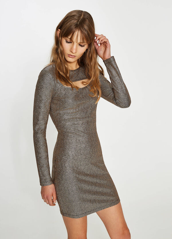 Shiny stretch dress with opening