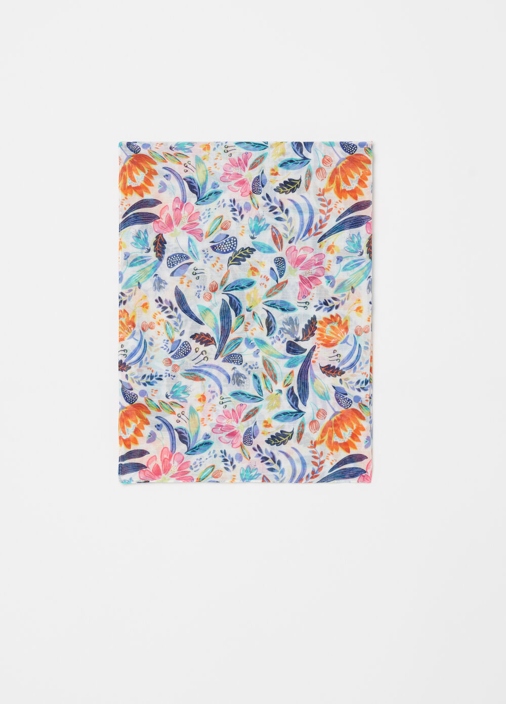 Multicoloured scarf with floral print