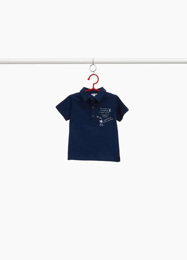 100% cotton polo shirt with printed lettering