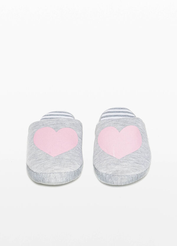 Heart print jersey slippers