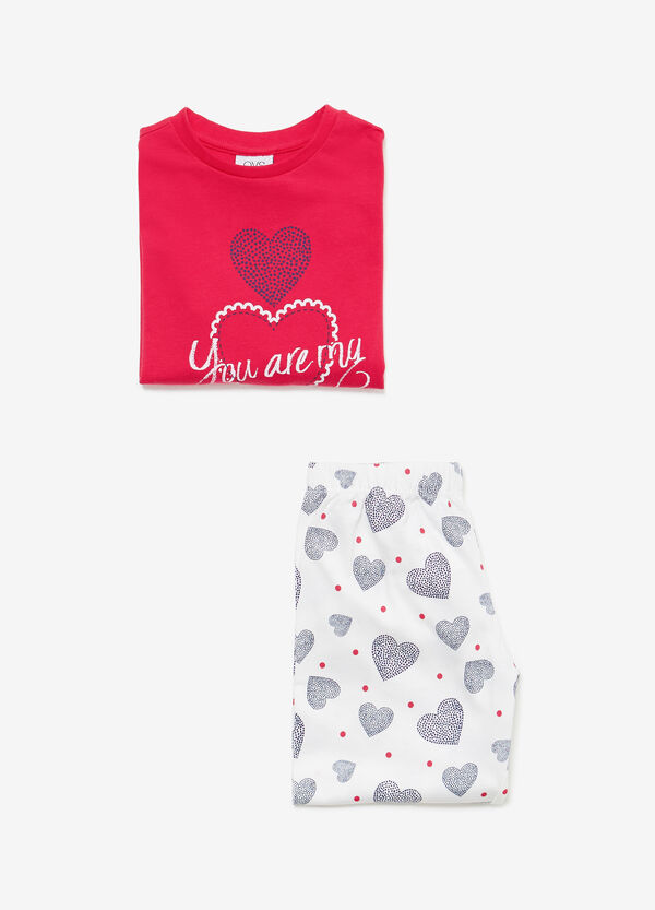 100% cotton pyjamas with hearts and polka dots
