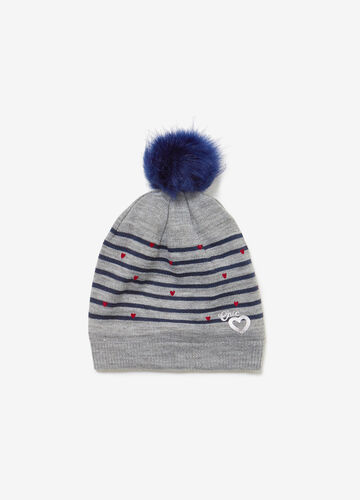 Knitted beanie cap with stripes and hearts